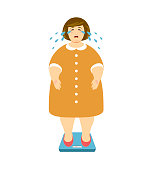 Fat woman cries on the scales. Vector illustration