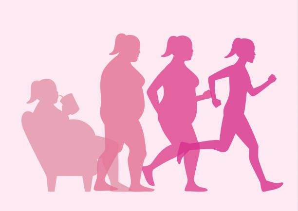 Fat woman get out of sofa and change to slim shape with run. Fat woman stand up from sofa for loss weight with jogging. This illustration about workout concept. weight loss stock illustrations