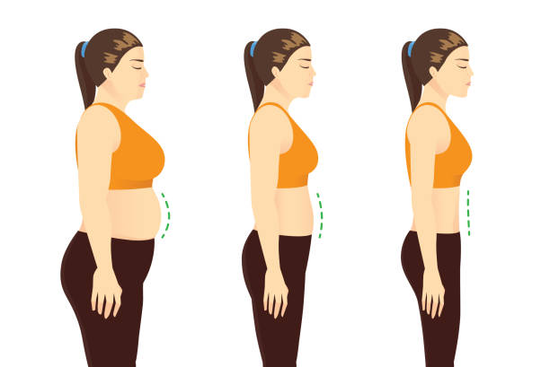 Fat Woman in sportswear to get a flatter belly in 3 step. Beauty shape after lose weight. vector art illustration