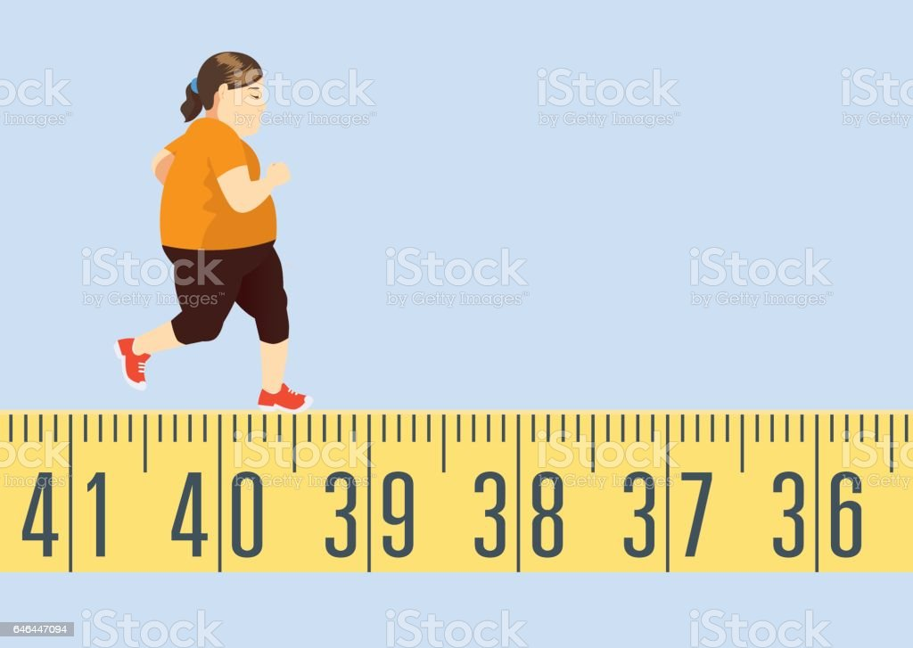 Fat woman jogging on tape measure vector art illustration