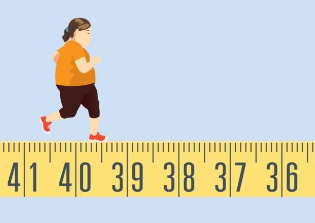illustrazioni stock, clip art, cartoni animati e icone di tendenza di fat woman jogging on tape measure - obesity