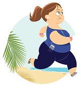 Fat woman jogging