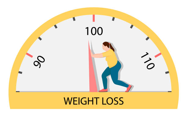 Fat woman struggling with an arrow of weights. A woman tries very hard to lose weight. weight loss stock illustrations