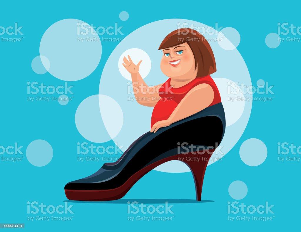 fat woman waving with big high heel vector art illustration