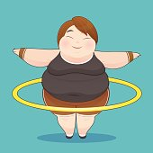 Fat woman with hula hoop twirling, Idea Concept With Icon Design, Vector Illustration 10 EPS