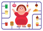 vector illustration of fat woman with junk food model kit
