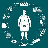 Fat woman with unhealthy lifestyle symbols around her. Harmful eating habits.