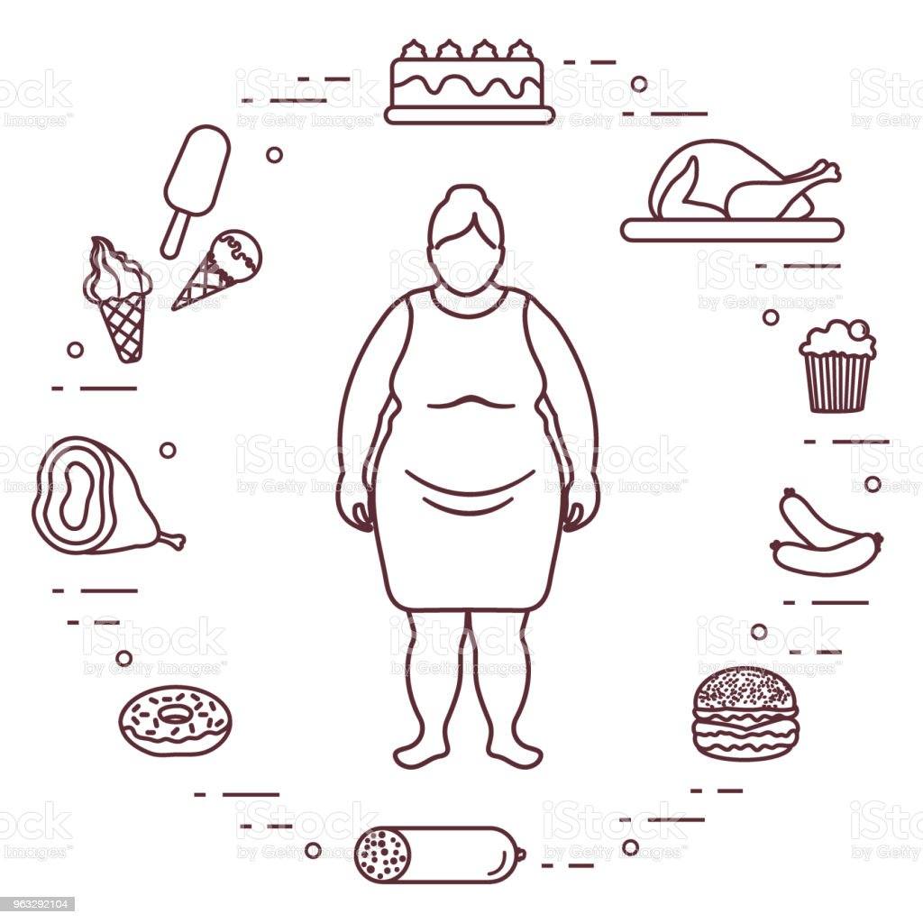 Fat Woman With Unhealthy Lifestyle Symbols Around Her Harmful Eating