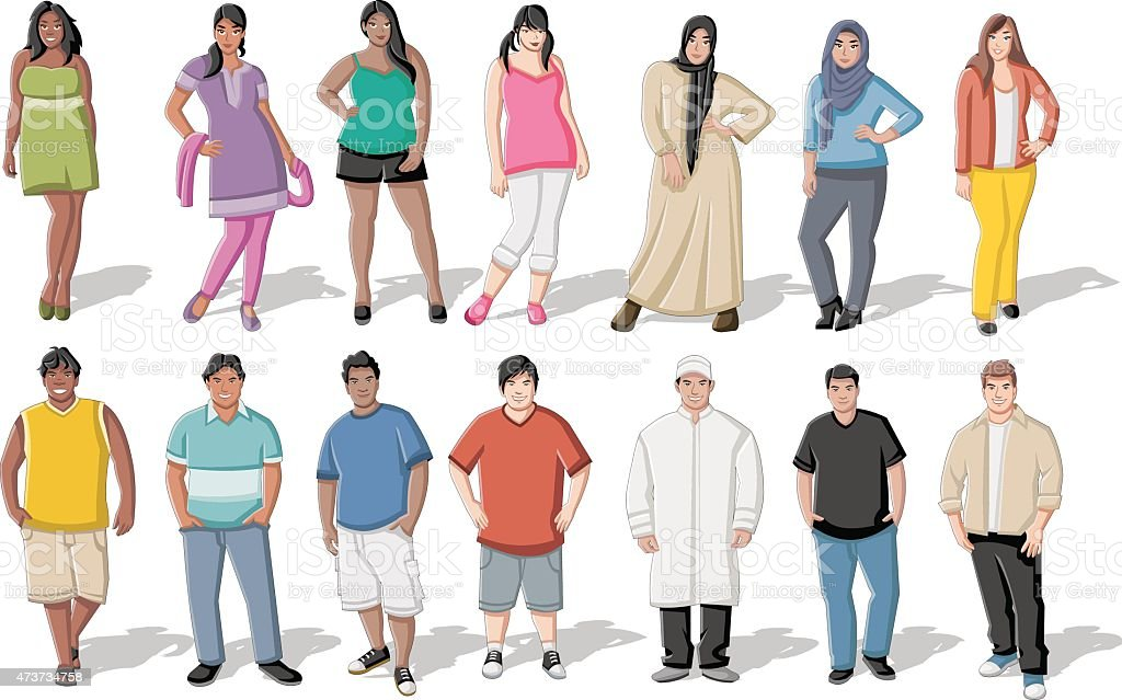 fat young people vector art illustration