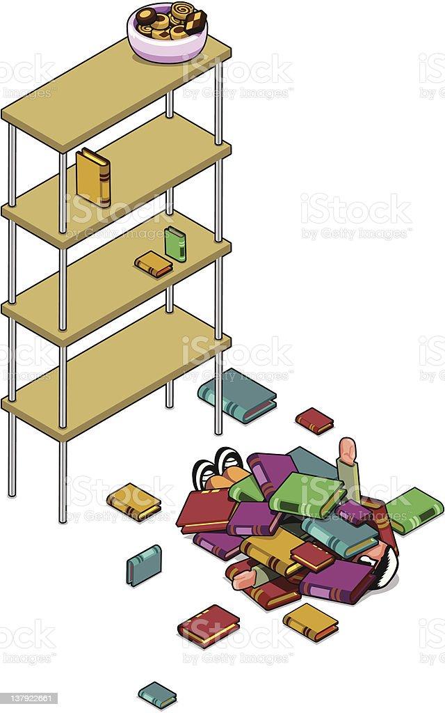 Fatal bookshelf vector art illustration