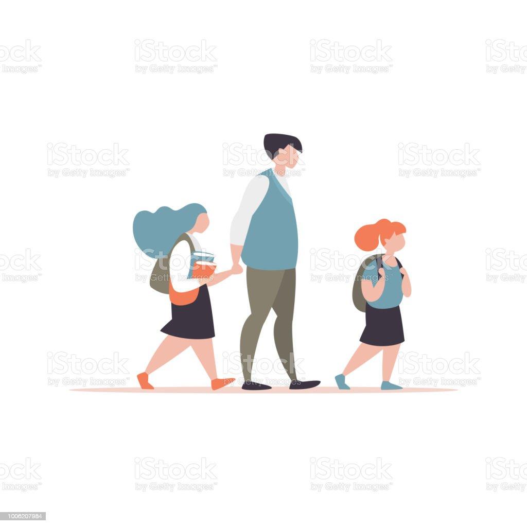 Vater begleitet seine Kinder zur Schule – Vektorgrafik