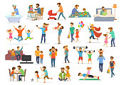 istock father and child collection, dad with kids boy and girl have fun jump walk dance play superhero soccer video game, take selfie, hug kiss, read book, exercise, feeding bathing, 938392488