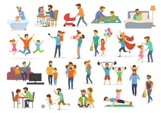 ilustraciones, imágenes clip art, dibujos animados e iconos de stock de colección padre e hijo, padre con hijos niño y niña tienen diversión saltar a pie danza jugar superhero futbol video juego, tomar selfie abrazo beso, leer libro, ejercicio, baño, la alimentación - hija
