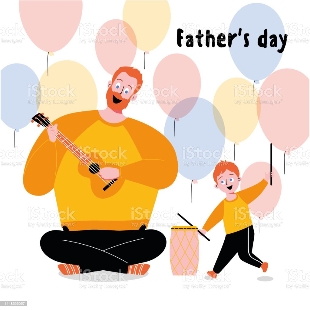 Father And Child Play The Guitar And Drum Stock Illustration