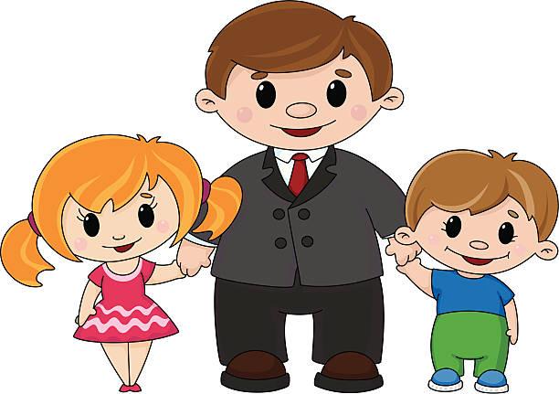 illustrations, cliparts, dessins animés et icônes de père et enfants - enfants de bande dessinée