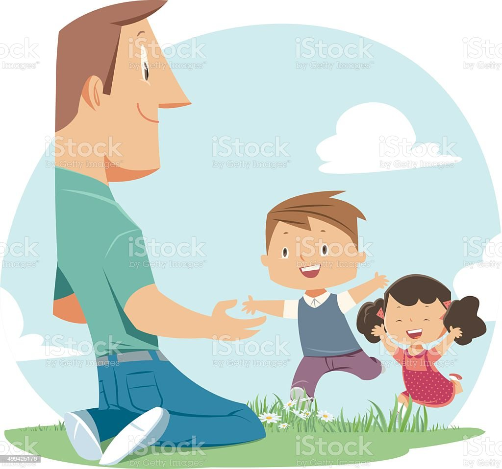 Father and Children vector art illustration