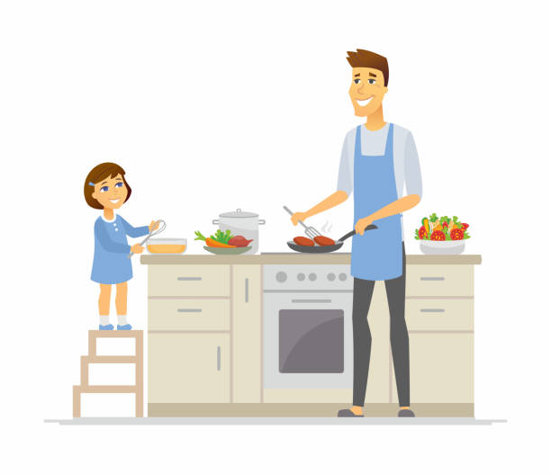 illustrazioni stock, clip art, cartoni animati e icone di tendenza di father and daughter cooking - cartoon people characters illustration - kitchen situations