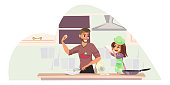 Father and daughter cooking flat illustration