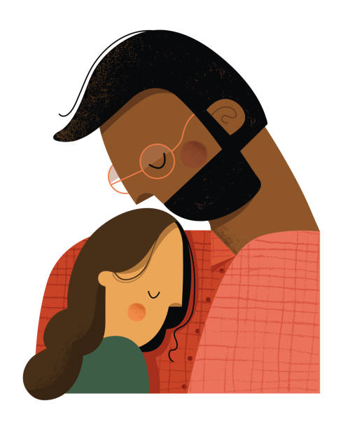 Father and daughter embracing Father holding his daugher tenderly in his arms. daughter stock illustrations