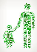 Father and Daughter Icon . The green vector icons create a seamless pattern and include popular farming and agriculture. Farm house, farm animals, fruits and vegetables are among the icons used in this file. The icons are carefully arranged on a light background and vary in size and shades of green color.