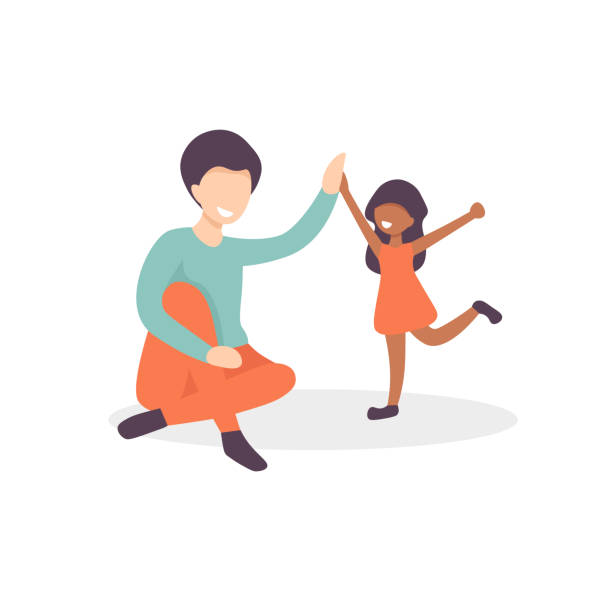 father and daughter give five vector art illustration