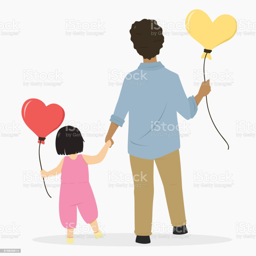 Father And Daughter Holding Hands Cartoon Vector Stock Vector Art
