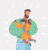 Father and daughter hugging.