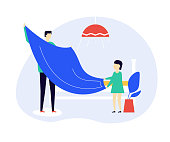Father and daughter making bed together flat vector illustration. Little girl and adult man holding blanket cartoon characters. Domestic chores, housekeeping concept. Parent teaching child neatness