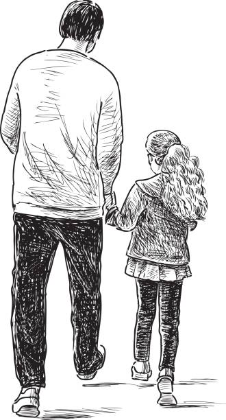 father and daughter on a stroll vector art illustration