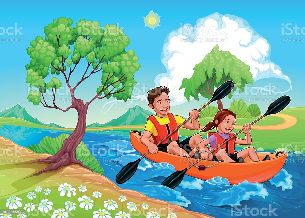 Father and daughter on the kayak in the river vector art illustration