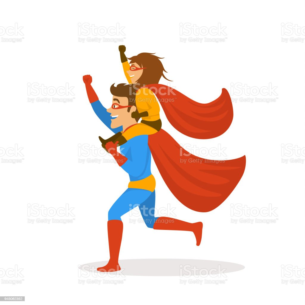 father and daughter playing superheroes dressed in costumes running together,girl sitting on dads back shoulders , funnny fathers day isolated vector illustration scene vector art illustration
