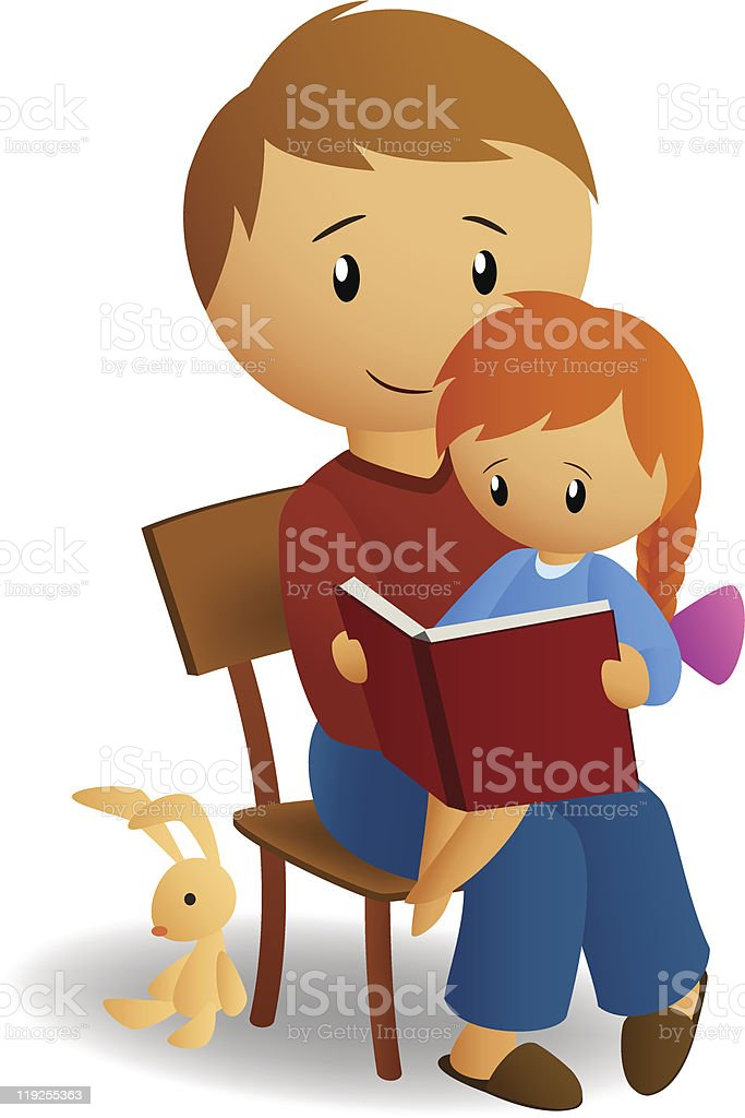 Father and daughter read book royalty-free stock vector art