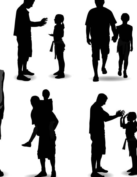 Father and Daughter Silhouette vector art illustration