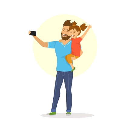 father and daughter taking selfie cute cartoon vector illustration