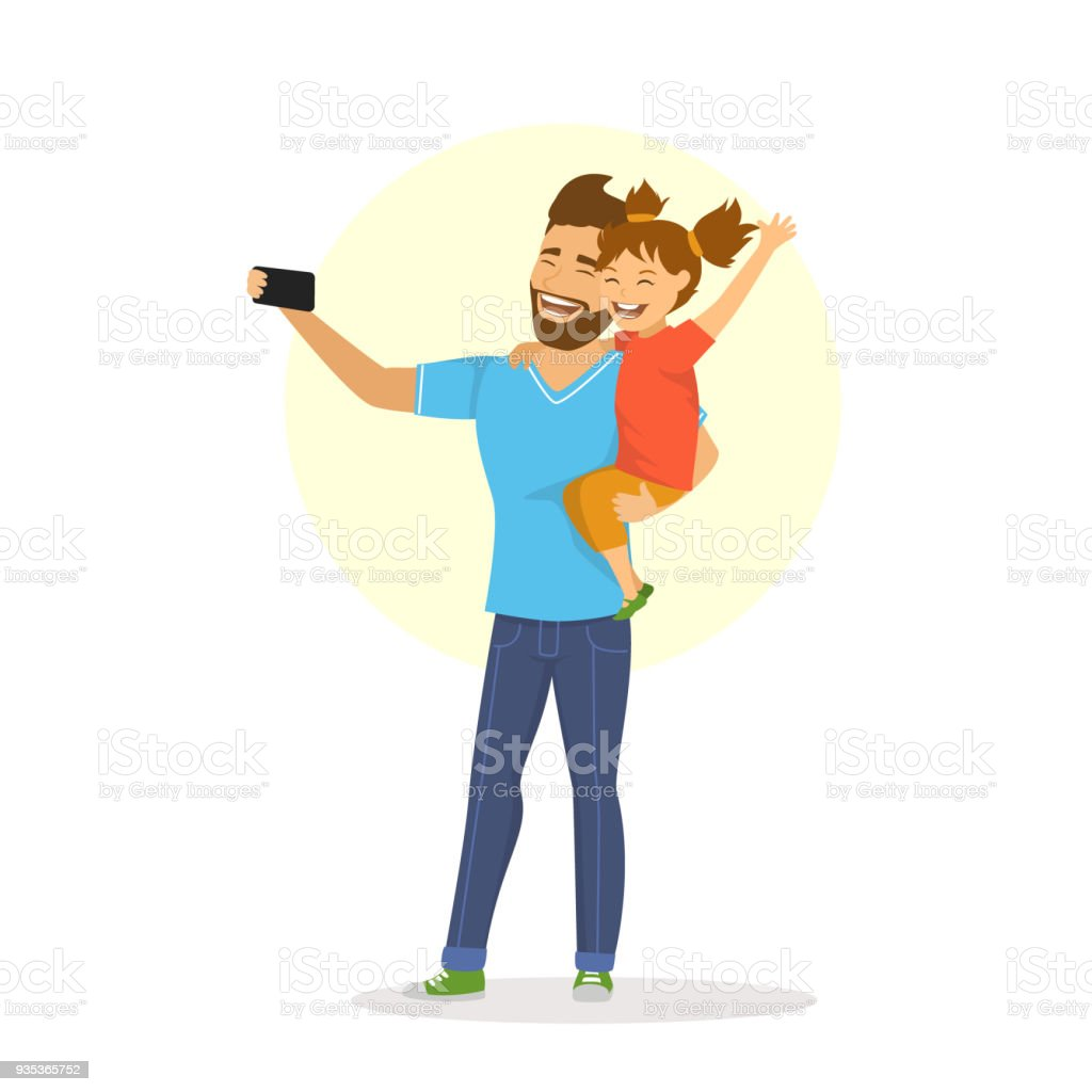 father and daughter taking selfie cute cartoon vector illustration vector art illustration