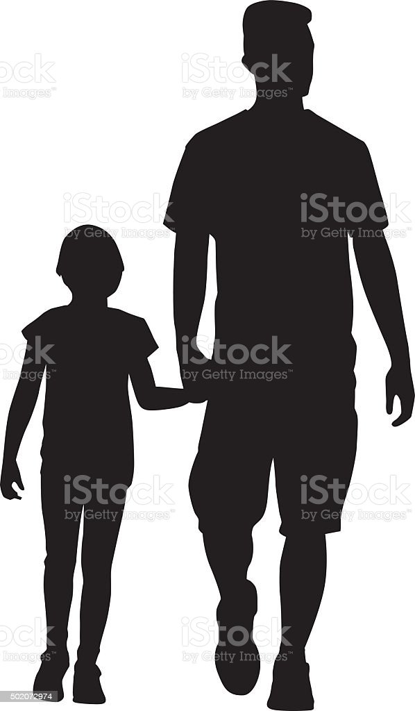 Father And Daughter Walking Together vector art illustration