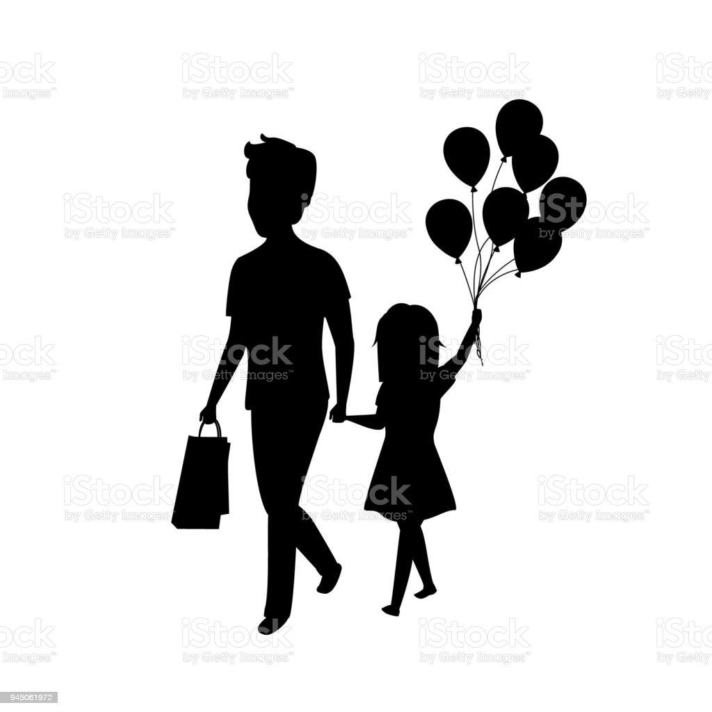 Vater Und Tochter Zusammen Mit Ballons Isoliert Vektor Illustration ...