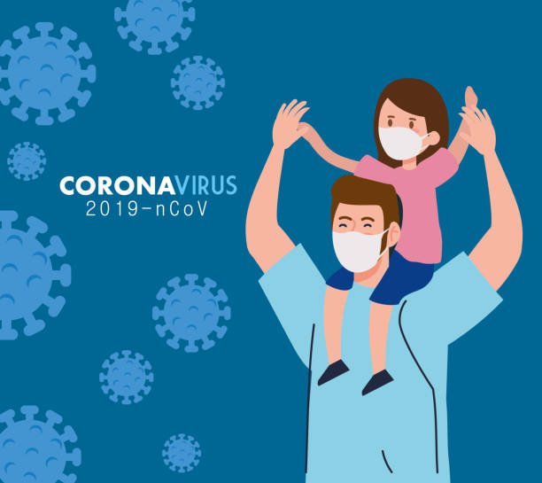 father and daughter wearing protective medical mask for prevent virus covid 19 vector art illustration