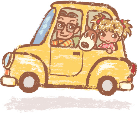 Father and daughter who has gotten on car with dog