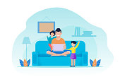 Father and Daughters Having Rest in Living Room. Man Sits on Sofa Using Laptop. Girls Attracting Dads Attention. Happy Family Evening. Recreation Together at Home. Vector Flat Cartoon Illustration