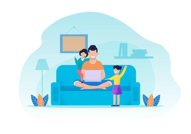 illustrazioni stock, clip art, cartoni animati e icone di tendenza di father and daughters having rest in living room - family home
