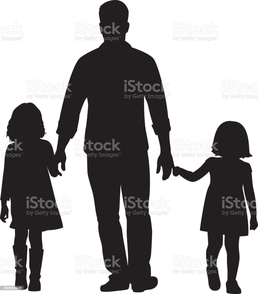 Father and Daughters Walking Silhouette vector art illustration