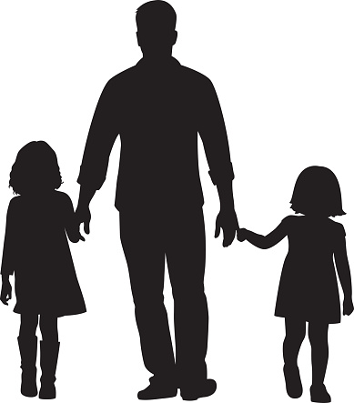 Download Father And Daughters Walking Silhouette Stock Illustration ...