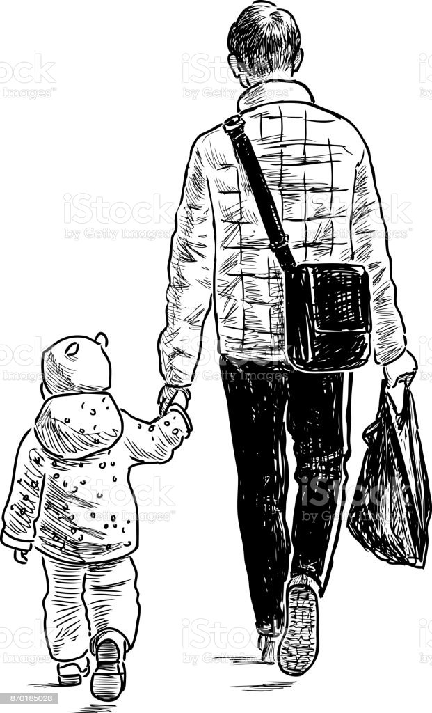Father and his baby go from  store vector art illustration