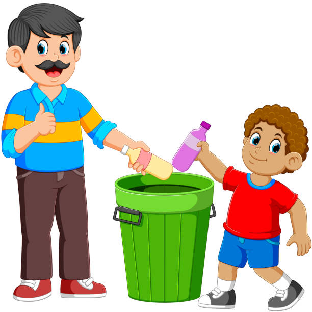 father and his son collecting rubbish plastic bottle - child throwing garbage stock illustrations, clip art, cartoons, & icons