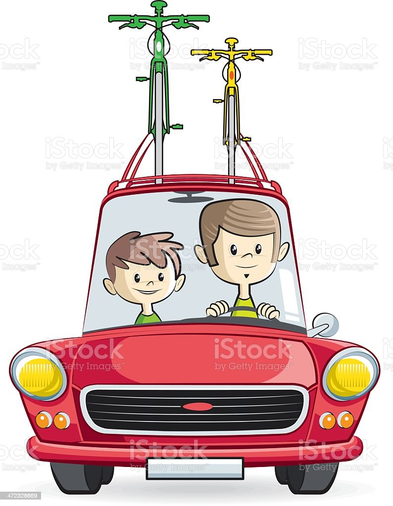 father and his son taking a trip royalty-free stock vector art
