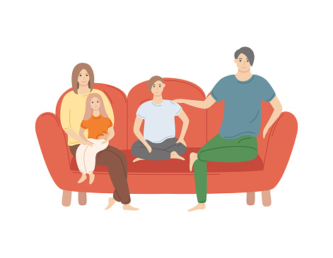 Father and Mother, Son and Daughter at Home Vector