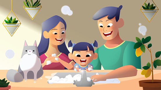 Father and mother teaching their daughter how to wash hands to follow covid-19 sop