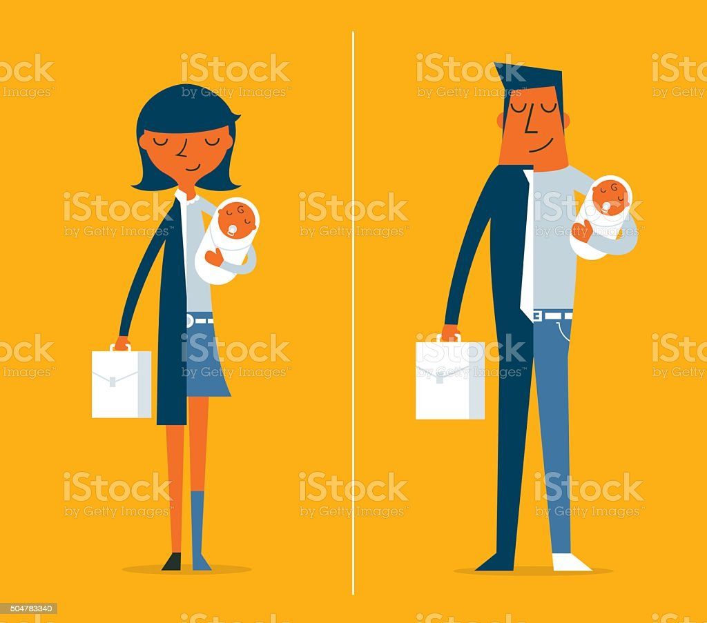 Father and Mother vector art illustration
