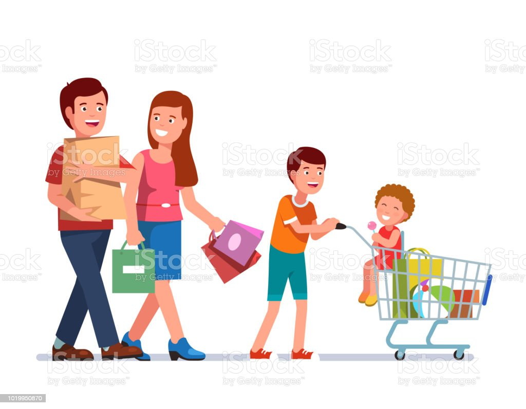 d83ccaa0e770 Father And Mother Walking Carrying Shopping Bags With Son Pushing ...